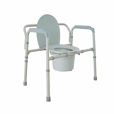 Heavy Duty Bariatric Folding Commode, Gray Drive Medical Mobility Furniture New