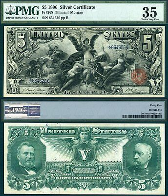 """1896 $5 Silver Certificate FR-268 """"Educational Note"""" PMG Graded VF35"""