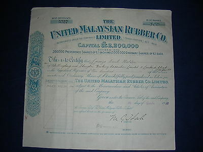 INDONESIA/ex Dutch Indies: The United Malaysian Rubber Co Ltd. 1912