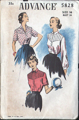 1950's Advance Sewing Pattern - Blouses with Tucked Yoke - Bust 34