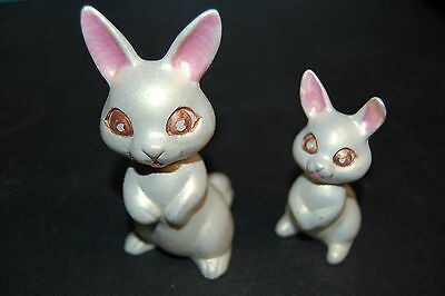"""Estate Find Two Ceramic White Bunny Rabbit Figurines 4.5"""" & 3.5"""" tall Easter Fun"""