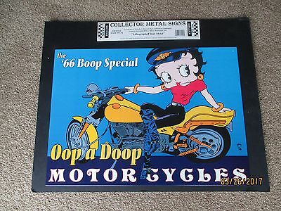 Metal Betty Boop on Motorcycle Sign