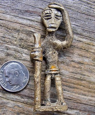 "Vtg ASHANTI AKAN African Native Figure 3D Ghana 2"" OLD MAN ART Brass RARE VG+"