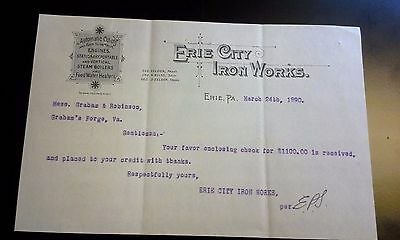 "LOOK! 1890 Advertising Letter Head ""ERIE CITY IRON WORKS""      Erie, PA"