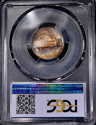 1943-D Jefferson War Nickel Silver PCGS MS66FS Colorful Rainbow Toned Free Ship