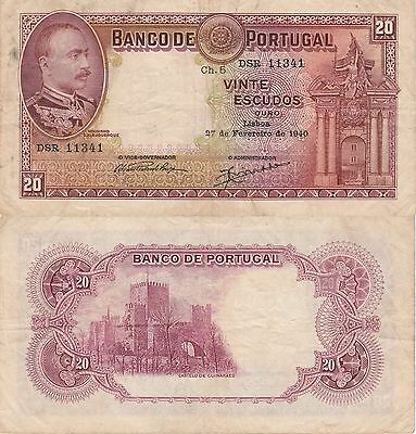 Portugal 20 Escudos Banknote 1940 Choice Fine Condition Cat#143-1341