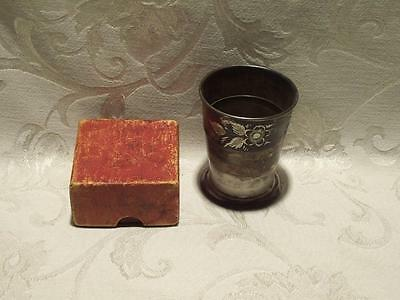 Antique Vintage Metal Collapsible Cup with Box Quadruple Plate Homan Mfg Company