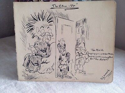 Original Vintage Cartoon Cricket Illustrations M Leonard 1921 Sports Memorabilia