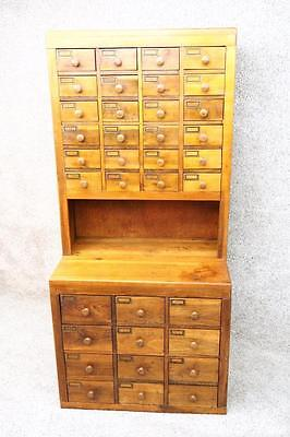 Antique StepBack Apothecary Industrial Parts General Store File Cabinet Cupboard