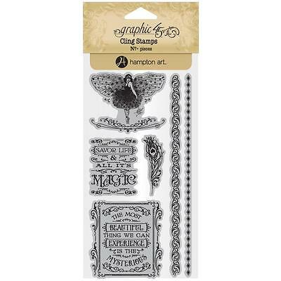 Midnight Masquerade #3 Unmounted Cling Rubber Stamp Set Graphic 45 IC0385 New