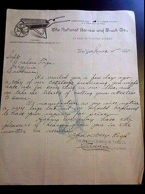 "LOOK! 1890 Advertising Letter Head ""The National Barrow and Truck Co.""    NY"