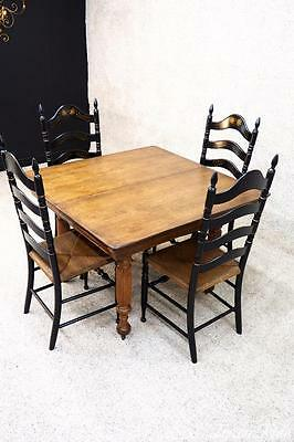 Victorian Era Antique Square Farm House Kitchen Dining Table Tiger Oak