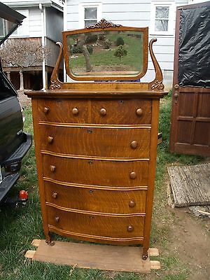 Victorian Oak Antique Highboy Tall Chest of Drawers Dresser WITH Mirror 1910???
