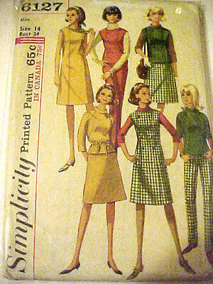 #6127 Vintage Simplicity Misses Dress Top Skirt Pants Sewing Pattern Size 14