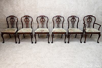 Stunning Antique Chippendale Dining Room Set Suite Mahogany Table And 6 Chairs