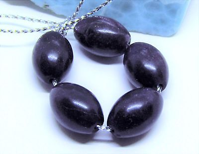 5 RARE 100% NATURAL UNTREATED AFRICAN GEMMY PURPLE SUGILITE EGG BEADS 14mm 55cts