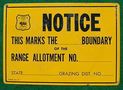 Vintage Tin 1937 U.S. Division of Grazing Range Boundary Sign, Scarce!
