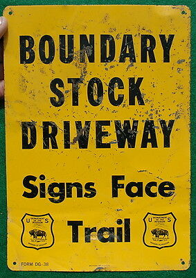 Vintage Tin 1938 U.S. Division of Grazing Boundary Stock Driveway Sign, Scarce!