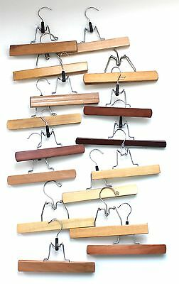 Vintage Lot of 16 Wood Pants Hangers Wooden