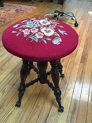 Vintage estate wooden ball and claw piano stool beautiful details