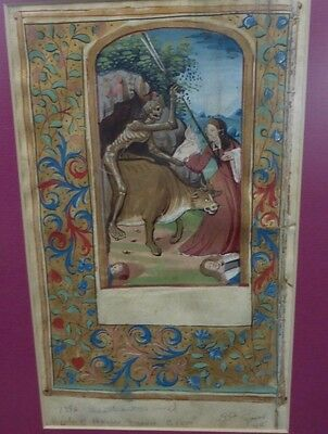 Death and the World,  Vellum Manuscript Leaf Book of Hours 1500's