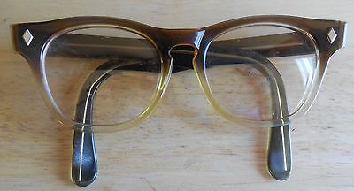 True Vintage Mens Usa Brown/clear Fade Horn Rim Arnel Style Hip Eyeglasses