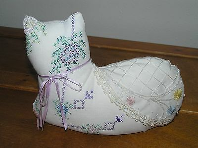 Handcrafted by Carolyn White Cotton Embroidered Kitty Cat Doorstop or Figurine