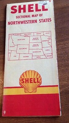 Shell Vintage Sectional Map Of Northwestern States 9#