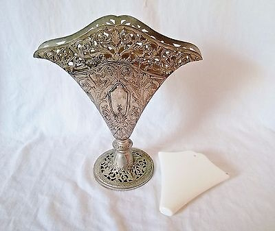 Vintage Silverplate Flower Vase with Plastic Water Container Insert (no leaking)