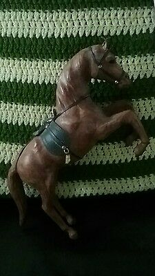 Handsome Vintage Leather Wrapped Rearing Horse Figurine Statue Sculpture