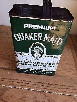 Vintage Quaker Maid Gear Lube Gallon Can Oil & Gas Advertising Service Station