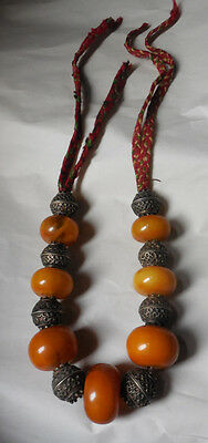 Vintage North African Amber Bakelite & Silver Color Bead Chunky Necklace