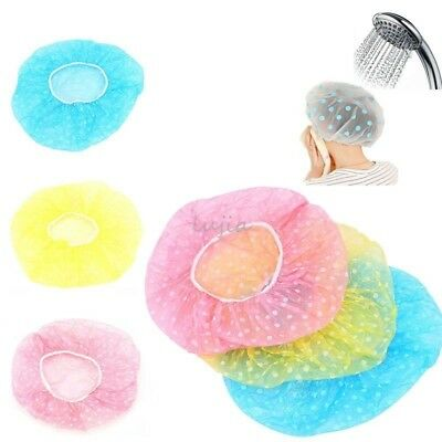3Pcs Women Lady Waterproof Elastic Plastic Dot Shower Bathing Salon Hair Cap Hat
