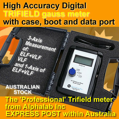 UHS2 Digital Trifield milligauss EMF meter - pro grade + case, data port & boot