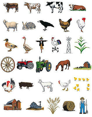 Farm Animals Brother Machine Embroidery Designs PES CD,USB