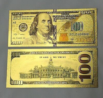 """.999 24KT Gold US""""New Style"""" Colorized Purple Stripe $100 One Hundred Banknote"""