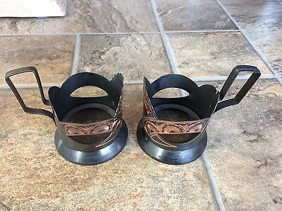 Vintage Middle Eastern Turkish Metal Tea Cup Holders