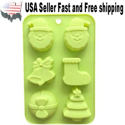 6 Cavity Christmas Theme Shaped Silicone DIY Handmade Soap Mold ~ US Seller