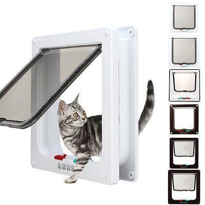 White Frame Four Way Locking Lockable Magnetic Pet Cat Small Dog Flap Door