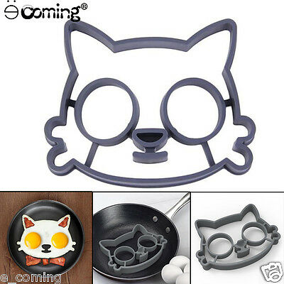Kitchen Silicone Cat Egg Shaper Cat Fried Eggs Mould Cute Interesting Mould Gray