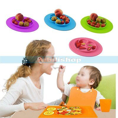Baby One-Piece Silicone Placemat Food Divided Plate Table Mat Toddler Kid【UK】