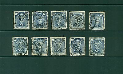 Southern Rhodesia #5 (3p George V Admiral) F-VF used x 10 stamps CV $50.00
