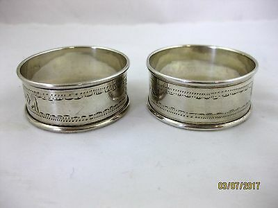 Solid Silver Pair of SMALL PRETTY NAPKIN RINGS  Hallmarked  BIRMINGHAM 1923
