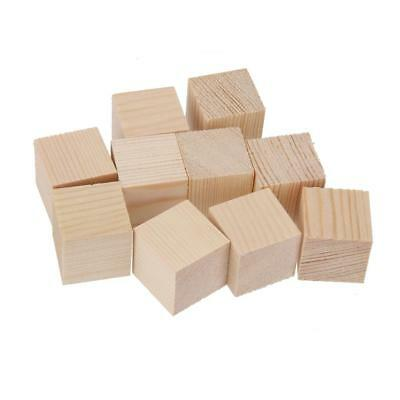 24x 30mm Wooden Shapes Blocks Unfinished Cube Embellishment for Scrapbooking