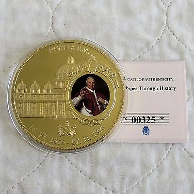 POPE PIUS IX 70mm LARGE GOLD PLATED COLOURED PROOF MEDAL - coa