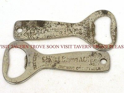 Lot of TWO 1930s Duquesne Nut Brown Ale Beer bottle openers Tavern Trove