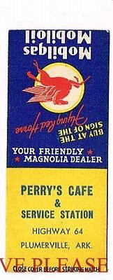 1930s Mobilgas Mobil Oil Perry's Cafe Plumberville Kentucky Matchcover