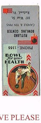 1940s Rutland Bowling Center Candle Vermont Matchcover