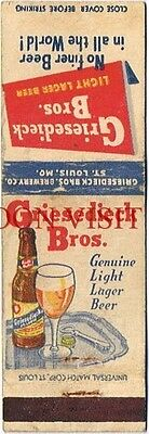 1950s Griesedieck Bros Beer St Louis Missouri White Matchcover Tavern Trove