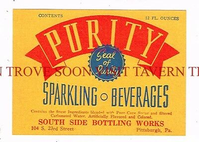 Scarce 1950s South Side Bottleing Works Pittsburgh label PURITY Tavern Trove